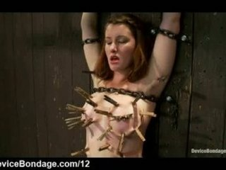 Bound clothes pinned babe flogged and twat vibrated