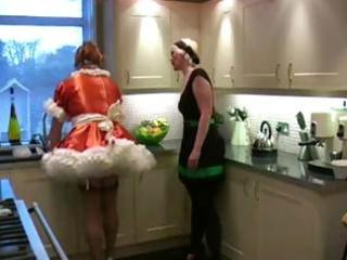 Sissy is dirty housemaid who gets spanked by her nasty master