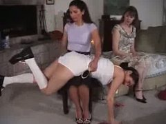 Samantha is spanked first.
