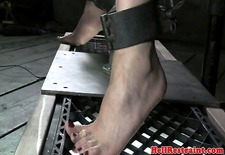Electro zapped skank being caned