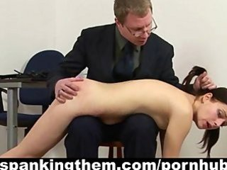 Shy schoolgirl spanked by teacher