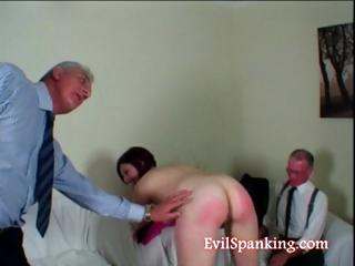 Her ass is red but she wants some more spanking