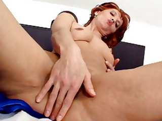 nasty redhead milf wakes up to big load