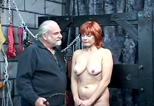 older redheaded thrall with saggy mangos is whipped in hippys basement