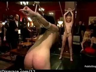 Girls bondage and whipped in public