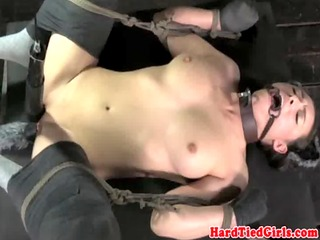 restrained puppy sub in spanking bench