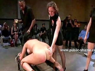 busty slut bound with rope gets spanked
