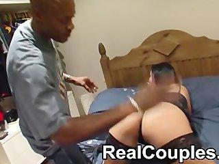 Black dude Sensi spanks then licks a smaller white girls pussy