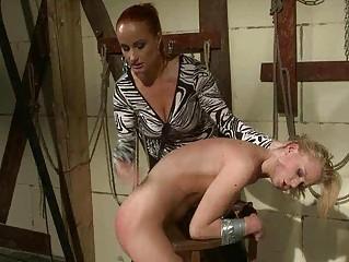 Mistress punishing sexy blonde