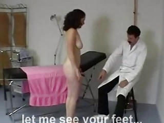 Girl getting her ass and soles spanked by the doctor at the