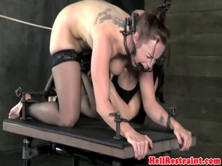lezdom busty sub gets spanked roughly