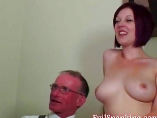 Teen girl gets hard spanking from a grandpa