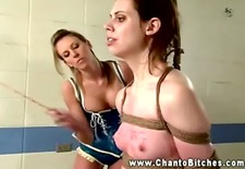 lesbo femdo caning blindfolded petite subject