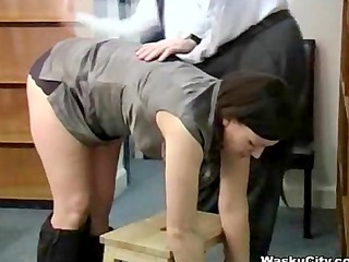 british girl (theif gets spanked by boss)