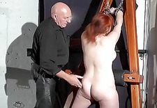 Young redhead slavegirl Vickys dungeon whipping