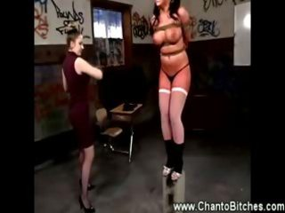 Big titted slave gets caned by teacher in the classroom