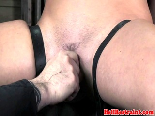 flogged bdsm slut pussy lips stretched and she gets a dildo