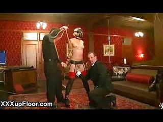 masked blindfolded babe flogged