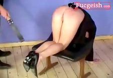 nice brunette uk milf spanked hard on the chair video