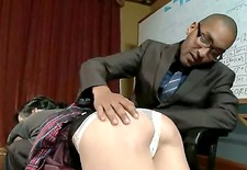 mark davis,mickey mod, elise graves and rain degrey are enjoying in their roleplay and todays theme is a dark haired naughty school girl getting spanked and punished by teacher