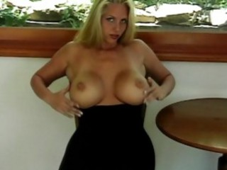 Big Titted Avy Scott Spanks Her Bald Pussy