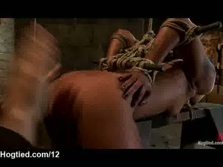 Bound to wooden horse babe flogged and spanked