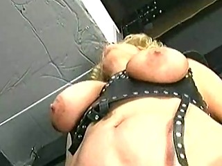 Master is spanking older slave with big tits on her ass and