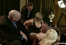 get ready for a kinky wife swap with sara jay and kait snow! mark davis and steve holmes treat these busty milfs like whores, spanking and tying them up while playing with them...
