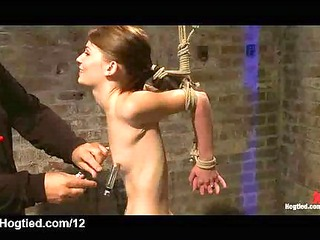 bound babe gets hard flogged in dungeon